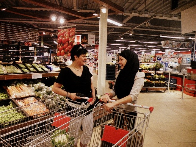 Praatje in supermarkt