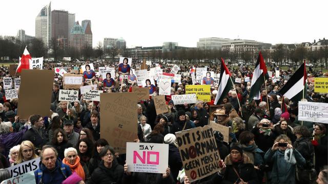 Demonstratie tegen Trump